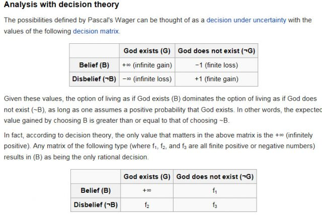 Pascal's Wager written in decision theory
